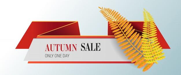 Herbstverkauf, nur ein tag schriftzug mit gelben blättern. herbstangebot oder verkaufswerbung
