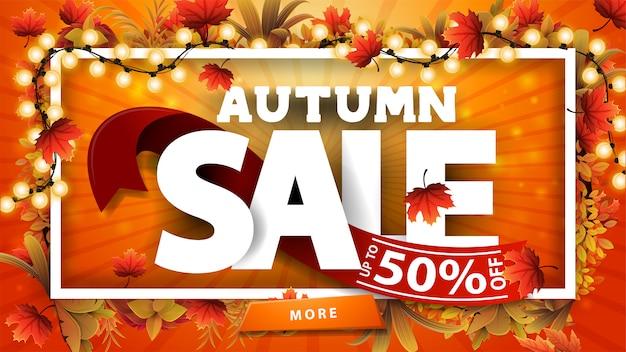 Herbstverkauf, orange rabattbanner mit 3d-text mit rotem band mit angebot, rahmen aus herbstblättern um einen weißen linienrahmen, großes angebot und rahmen aus hellen girlanden