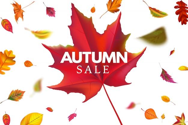 Herbstverkauf. saisonverkaufsschablone mit fallenden blättern, gefallenem blattrabatt und herbstlicher fliegerhintergrundillustration