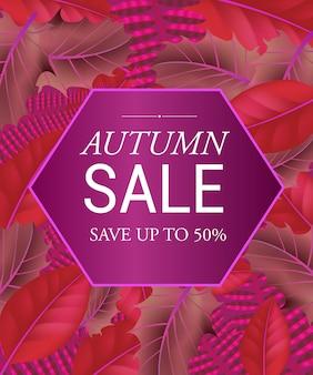 Herbstverkauf sparen sie bis zu fünfzig prozent schriftzug im sechseck. kreative beschriftung im rahmen