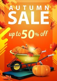 Herbstverkauf, vertikale fahne des rabattes mit smartphone und gartenschubkarre