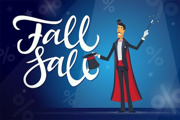 Herbstverkauf - zeichentrickfilm-figuren mit kalligraphietext auf blauem hintergrund mit prozentsatz. hochwertiger pinselstift-schriftzug. ein bild eines zauberers mit hut. black friday-konzept