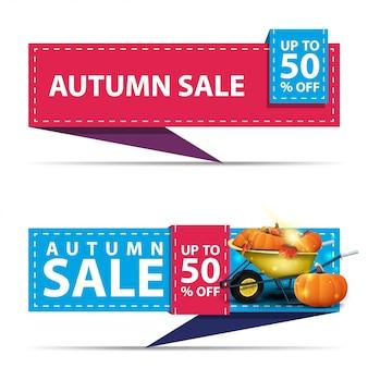 Herbstverkauf, zwei horizontale rabattfahnen in form eines bandes
