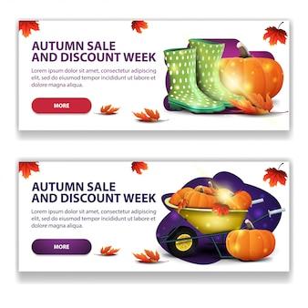 Herbstverkauf, zwei horizontale stilvolle, helle netzfahnen