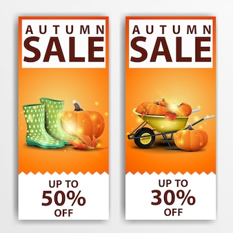 Herbstverkauf, zwei vertikale rabatt-banner