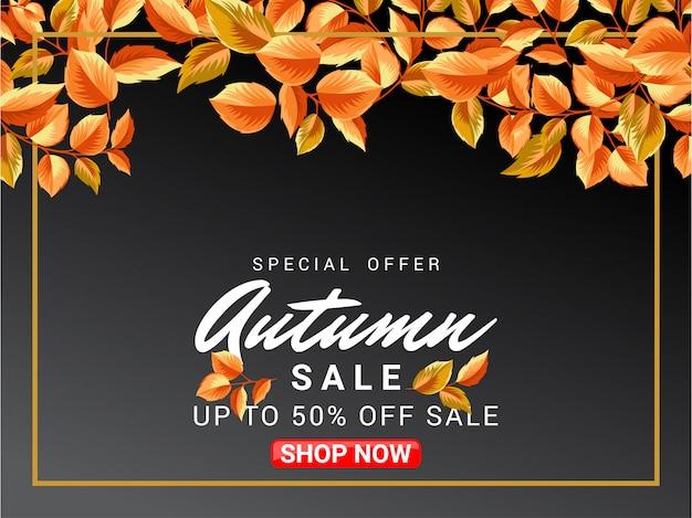 Herbstverkaufs-fahnendesign mit blattverzierung