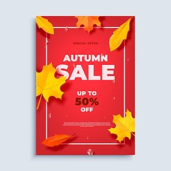Herbstverkaufs-fahnenhintergrund mit fallblättern