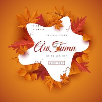 Herbstverkaufs-fahnenplan verzieren mit blättern