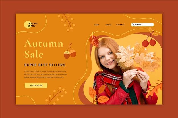 Herbstverkaufs-landingpage-vorlage mit foto