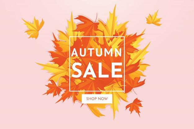 Herbstverkaufs-rabattangebot mit ahornblättern, fahne und hintergrund.