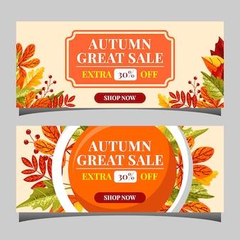 Herbstverkaufs-textfahnen für september-einkaufspromo