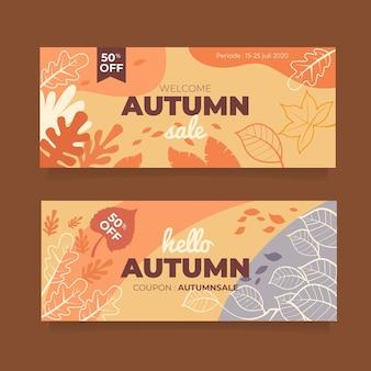 Herbstverkaufsbanner mit blättern