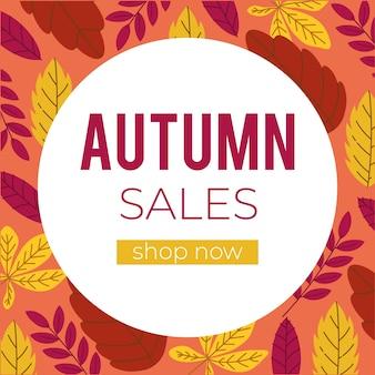Herbstverkaufsbanner mit text und blättern