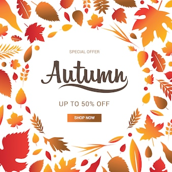 Herbstverkaufsbanner verzieren mit blättern für den einkaufsverkauf