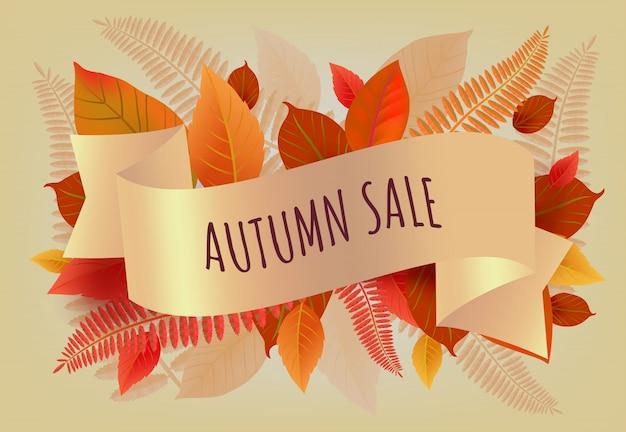 Herbstverkaufsbeschriftung mit den orange und gelben blättern. herbstangebot oder verkaufswerbung