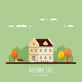 Herbstverkaufsfahne, bild eines hauses mit bäumen, ländliche landschaft, flache artillustration