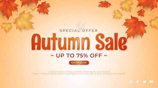 Herbstverkaufsfahne mit blätterhintergrund