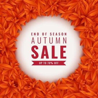 Herbstverkaufsfahne mit blättern. saisonaler hintergrundkreisrahmen mit fallendem herbstlaub und text. poster mit hellem laub