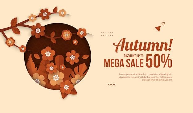 Herbstverkaufsfahne mit blumenelementen im papier schnitt art für einkaufsverkauf oder promoplakat
