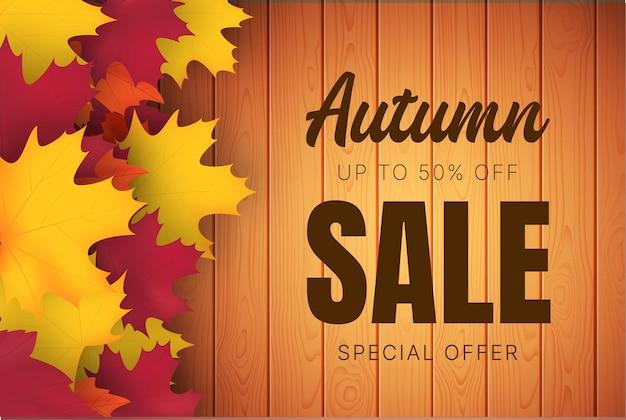 Herbstverkaufsfahne mit herbstlaubvektorhintergrund