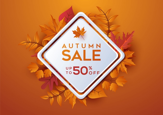 Herbstverkaufsfahne verzieren mit blättern