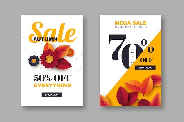 Herbstverkaufsfahnen mit blättern und blumen 3d. gelber, weißer hintergrund - vorlage für saisonale rabatte, vektorillustration.