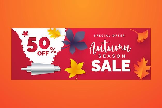 Herbstverkaufsfahnendesign mit rabattaufkleber im bunten herbstlaubhintergrund für die herbstsaison