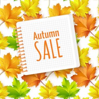 Herbstverkaufsfahnenentwurf mit bunten herbstblättern