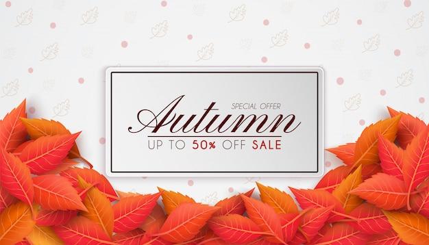 Herbstverkaufsfahnenentwurf mit bunten saisonalen herbstblättern. und konzept herbstwerbung.und als illustration oder hintergrund verwendet.