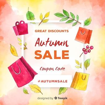 Herbstverkaufshintergrund-aquarellart