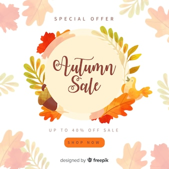 Herbstverkaufshintergrund-aquarelldesign