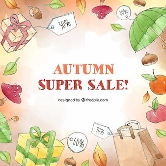 Herbstverkaufshintergrund in der aquarellart