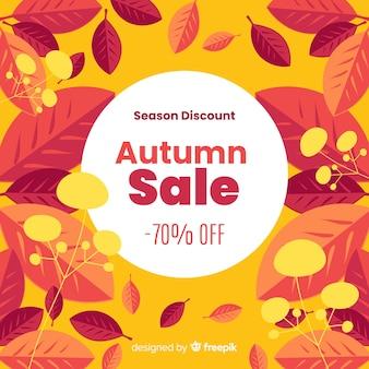 Herbstverkaufshintergrund in der flachen art