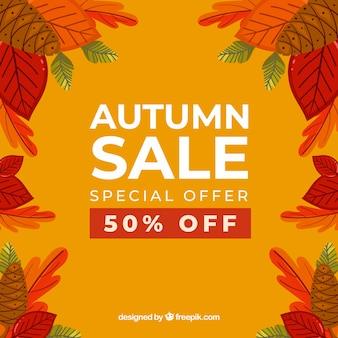Herbstverkaufshintergrund mit blättern