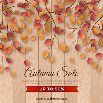 Herbstverkaufshintergrund mit realistischen blättern