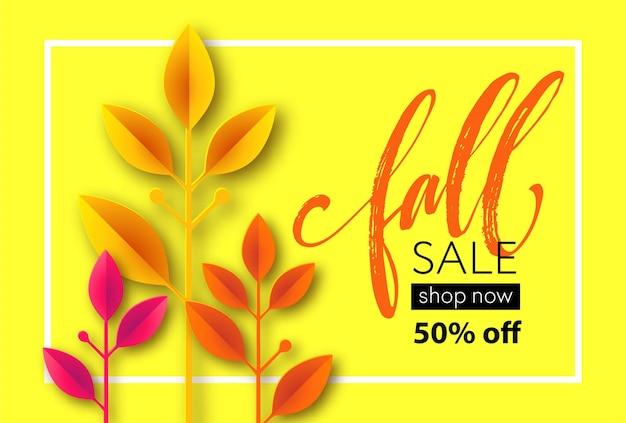 Herbstverkaufshintergrunddesign mit buntem papierschnitt-herbstlaub. vektorillustration eps10