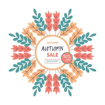 Herbstverkaufskonzeptdesign mit flachem blatthintergrund