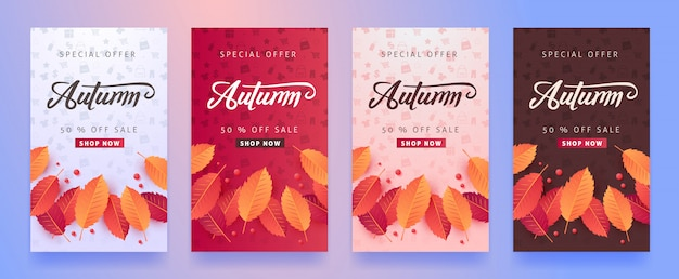 Herbstverkaufslayout verzieren mit blättern für einkaufsverkauf oder werbeplakat und rahmenbroschüre oder webbanner.