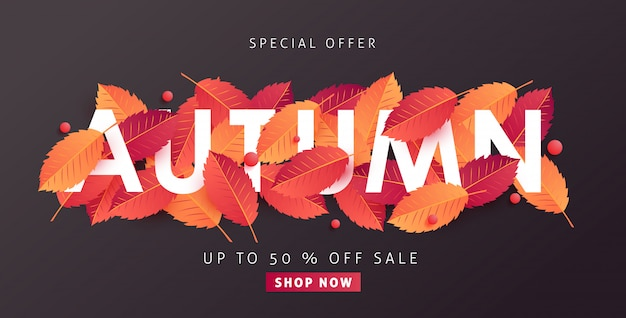 Herbstverkaufslayout verzieren mit blättern für einkaufsverkaufswebbanner.