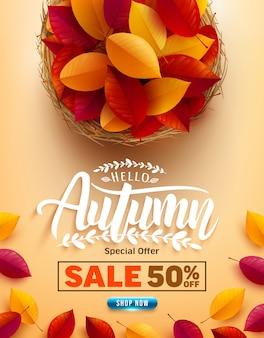 Herbstverkaufsplakat oder -fahne mit bunten herbstblättern auf gelbem hintergrund. grüße und geschenke für die herbstsaison.
