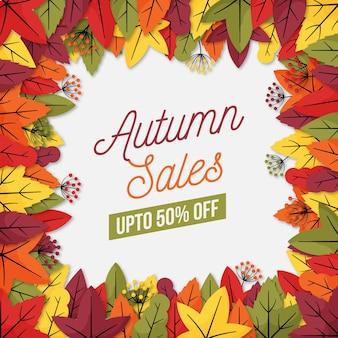 Herbstverkaufsschablonenkonzept