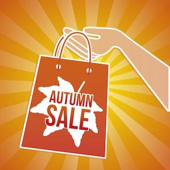 Herbstverkaufstasche über orange hintergrundvektorillustration