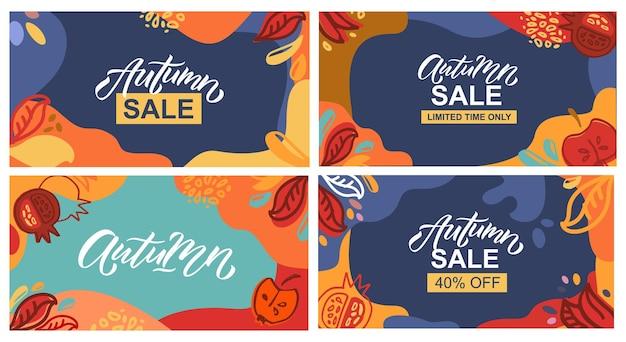 Herbstverkaufsvektorillustration mit beschriftungstypografie des herbstherbstverkaufsikonen-abzeichenplakats