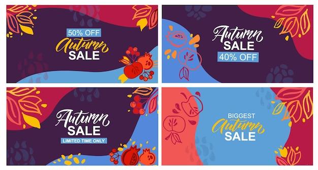 Herbstverkaufsvorlagen, die typografievektor oder illustration beschriften herbstikone und -abzeichen oder -plakat