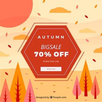 Herbstverkaufszusammensetzung mit flacher landschaft