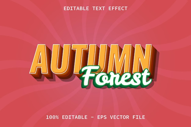 Herbstwald mit bearbeitbarem texteffekt im modernen stil