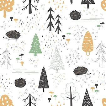 Herbstwald mit einem igel. illustration im skandinavischen stil. nahtlose muster