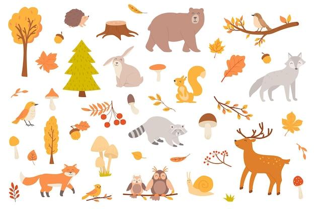 Herbstwald mit isolierten tierobjekten sammlung von herbstbäumen und blättern, pilze tragen