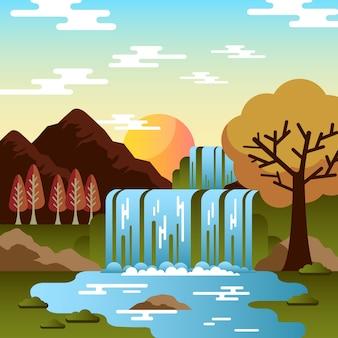 Herbstwasserfall mit bäumen und steinen