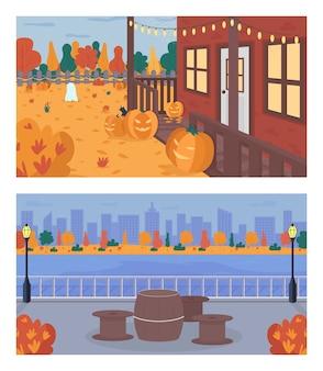 Herbstwochenende im flachen farbsatz der stadt. halloween-dekoration im hinterhof des hauses. tisch und stühle auf dem bürgersteig in der nähe von wasser. städtische 2d-karikaturlandschaft mit bäumen auf hintergrundsammlung